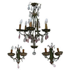 1920s Chandelier and Two Matching Sconces attributed to Maison Baguès