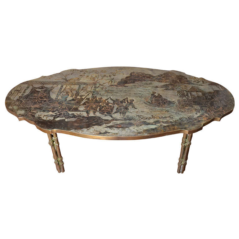 An Oval Shaped Philip And Kelvin Laverne Chinoiserie Coffee Table.
