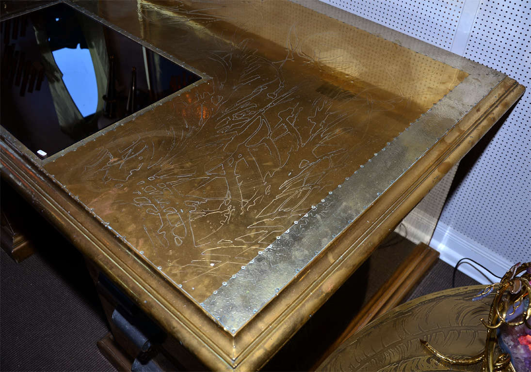 French Desk Signed by R. Dubarry, 1970s For Sale
