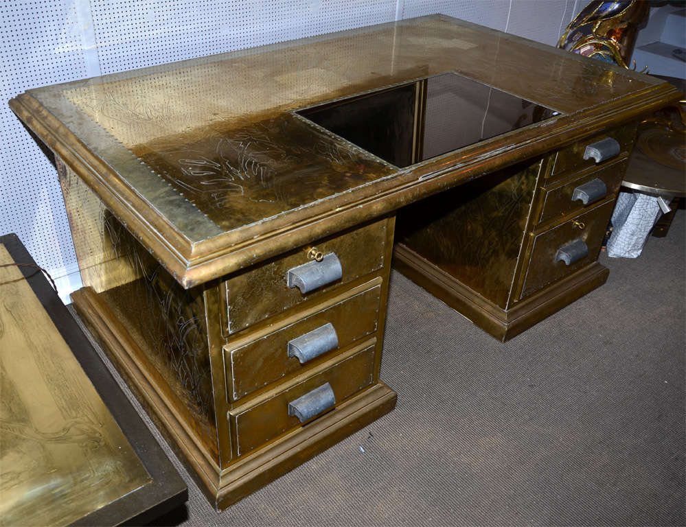 Desk Signed by R. Dubarry, 1970s In Good Condition For Sale In Paris Saint Ouen, FR