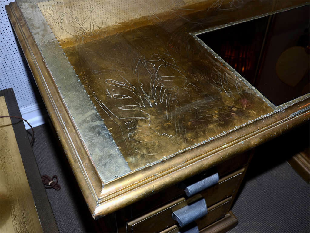 Late 20th Century Desk Signed by R. Dubarry, 1970s For Sale
