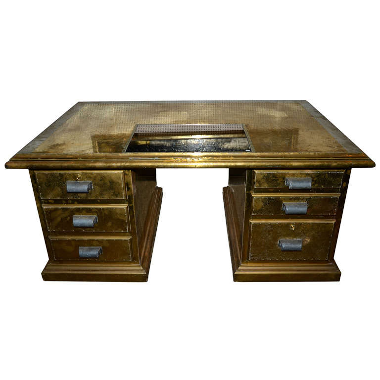Desk Signed by R. Dubarry, 1970s For Sale