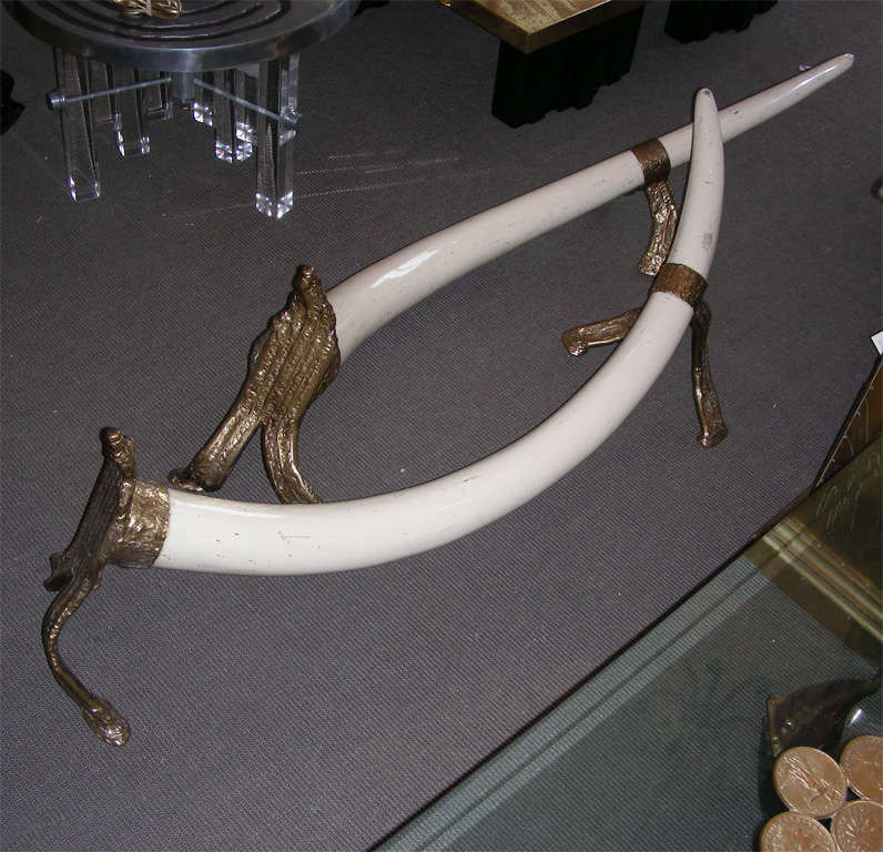 1970-1980 Coffee Table Base Made Of Resin Elephant's Tusks
