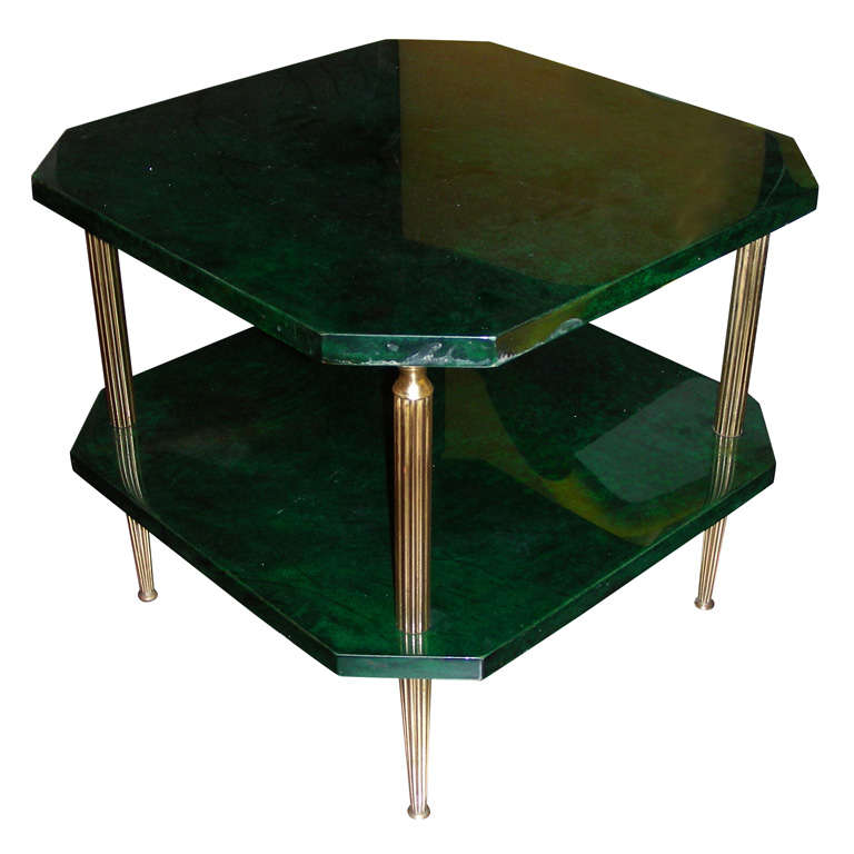 1960s Emerald Green Parchment Coffee Table By Aldo Tura At 1stdibs