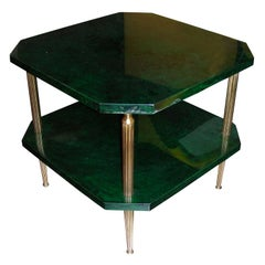 1960s Emerald Green Parchment Coffee Table by Aldo Tura