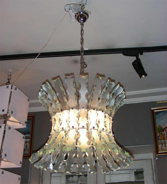 Glass Chandelier by Zero Quattro For Sale