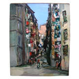 "1953 Painting of ""Italian Street"" by Claude Candela"