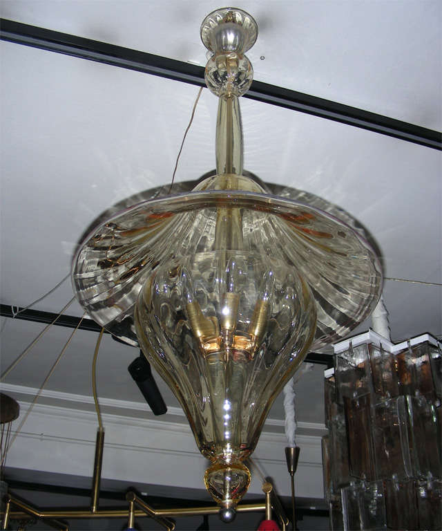 1960s Murano glass lantern by Venini; glass has a yellow tint.