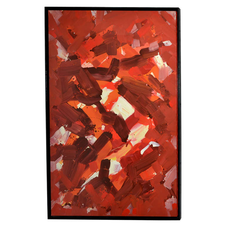 Large 1980s Abstract Painting by Jean Megard
