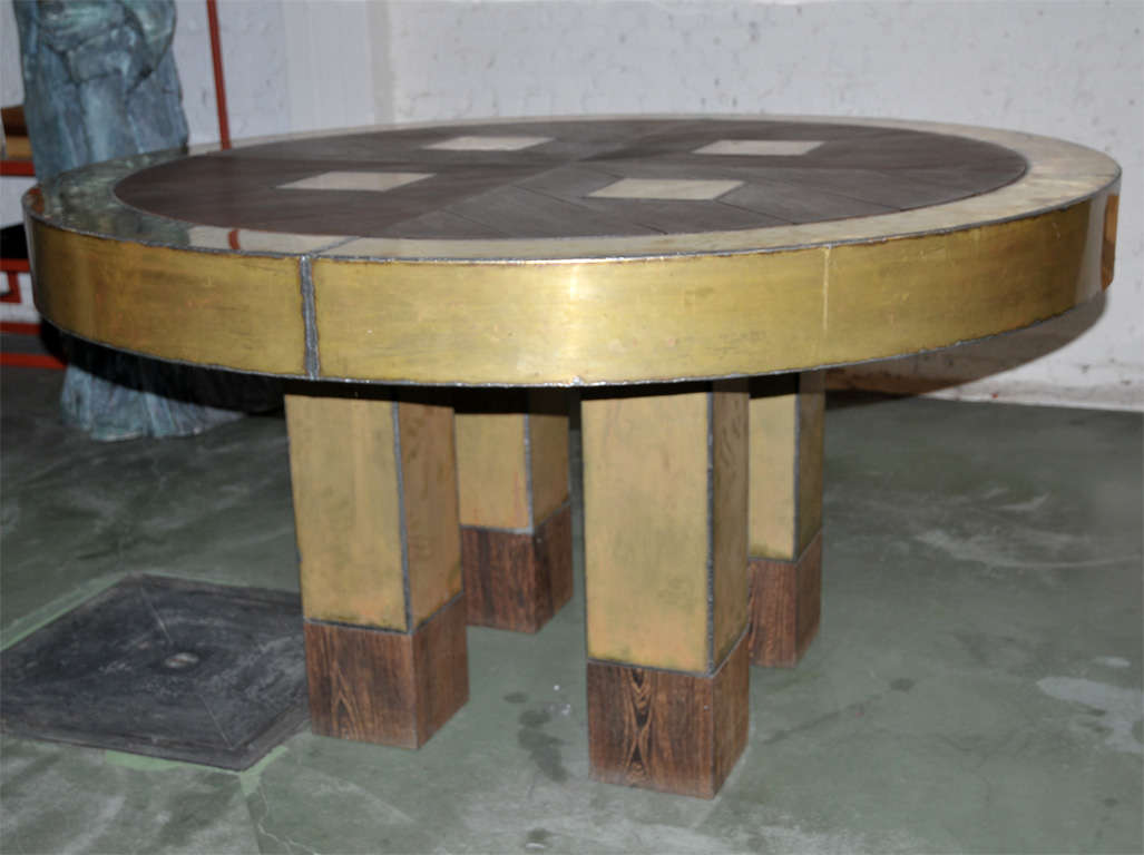 Brass and massive wenge round table at 1stdibs Brass round coffee table