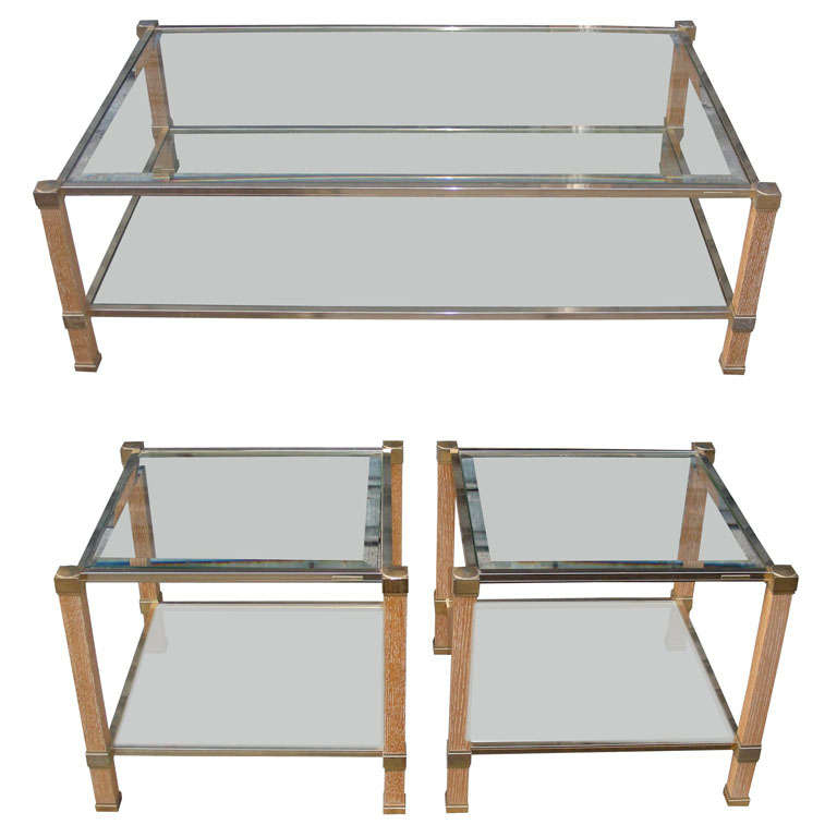 1970s coffee table and two matching end tables by pierre vandel at 1stdibs Matching coffee table and end tables