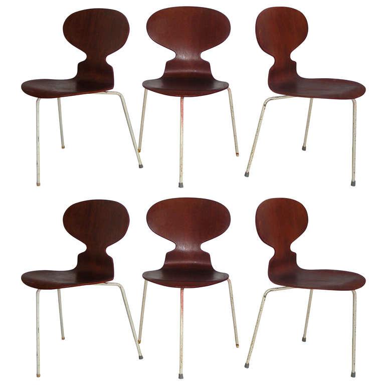 set of 3 teack ant chair by arne jacobsen at 1stdibs. Black Bedroom Furniture Sets. Home Design Ideas
