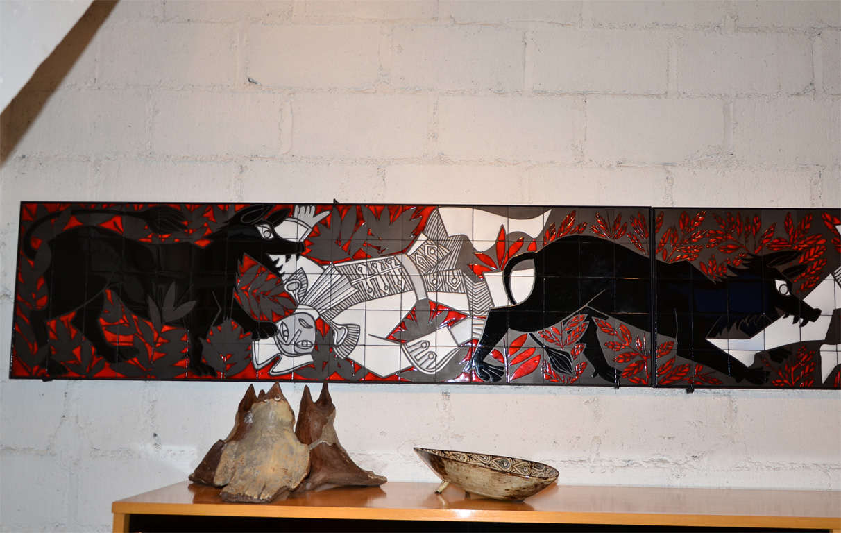 Mid-Century Modern 1960 Ceramic Panel by Roger Capron, Vallauris For Sale