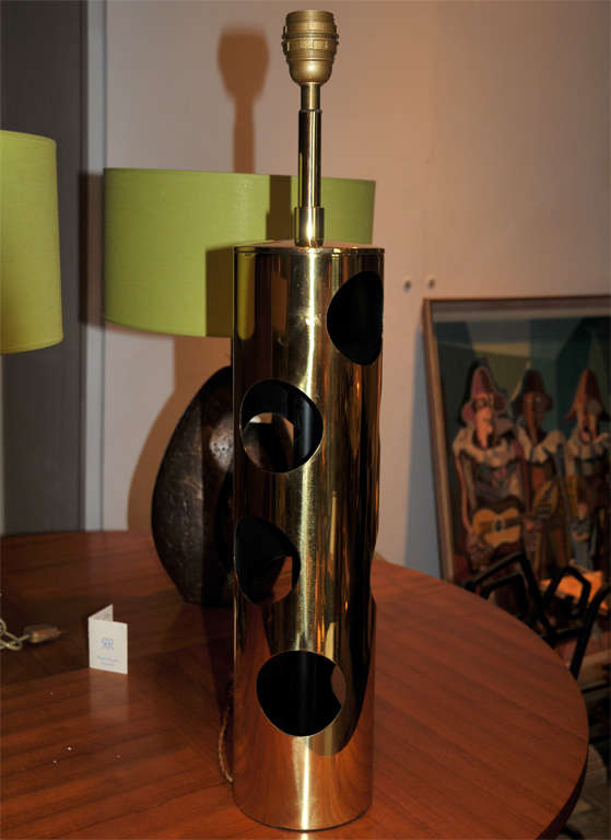 1960s lamp in perforated brass.