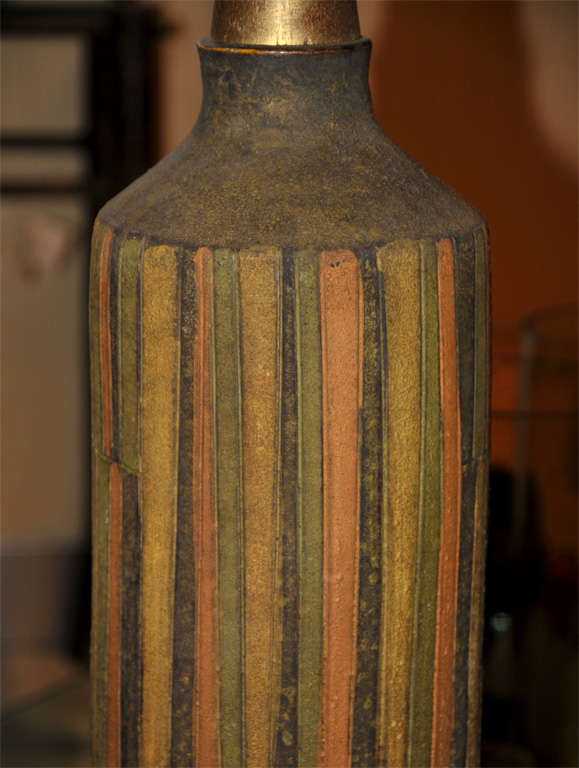 1950-1960 Vallauris Ceramic Lamp In Excellent Condition For Sale In Bois-Colombes, FR