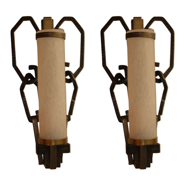 Pair of Wrought Iron Wall Lights with SCHNEIDER Glass Shades at 1stdibs