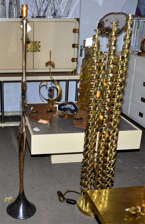 Fantastic Floor Lamp in Polished Bronze In Good Condition For Sale In Paris Saint Ouen, FR