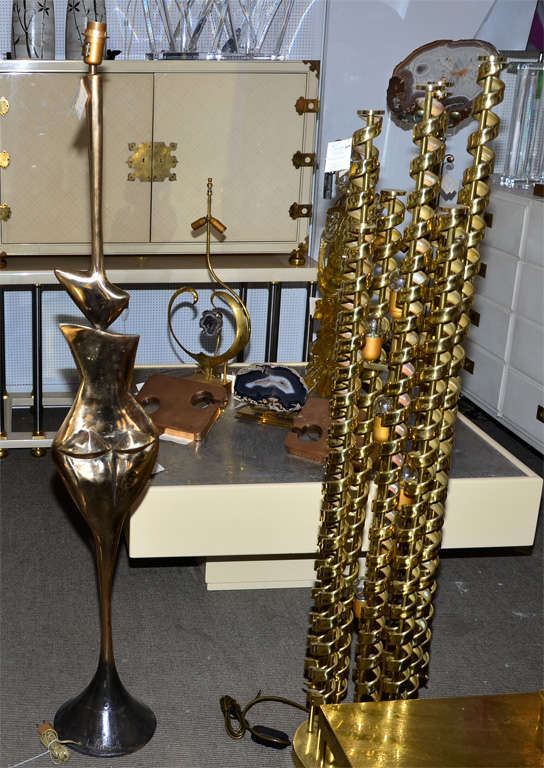 Late 20th Century Fantastic Floor Lamp in Polished Bronze For Sale