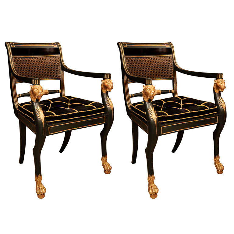 Fine Pair Of Regency Arm Chairs At 1stdibs