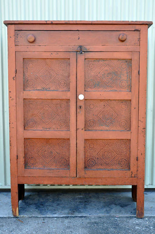 19th Century Original Bittersweet Painted Punch Tin Doors