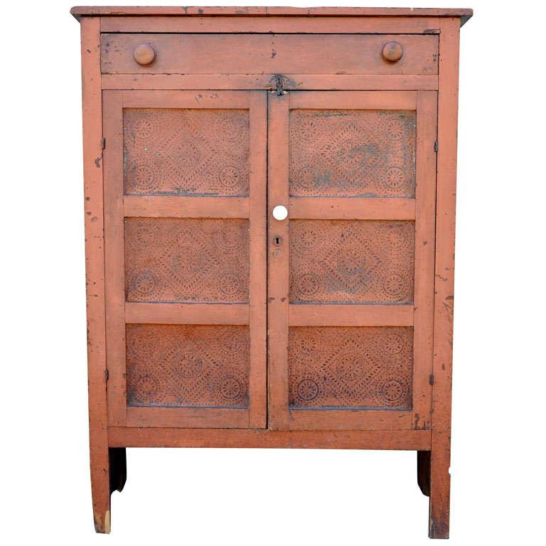 19th Century Original Bittersweet Painted Punch Tin Doors