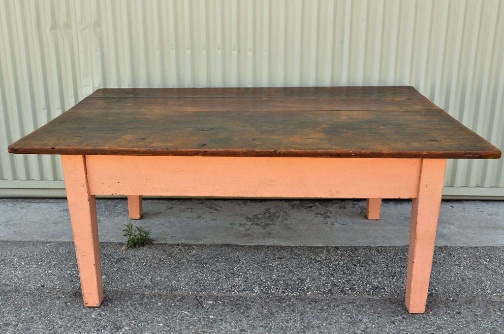 19thc Original Painted Farm Coffee Table W Original Painted Top At 1stdibs