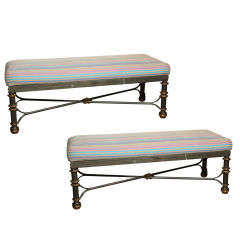 Pair of Metal Upholstered Benches