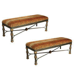 Pair of Metal & Leopard Print Benches