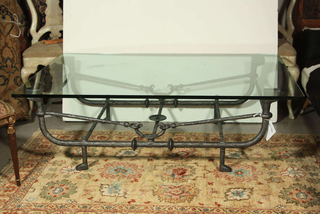 Metal base coffee table at 1stdibs for Metal coffee table base