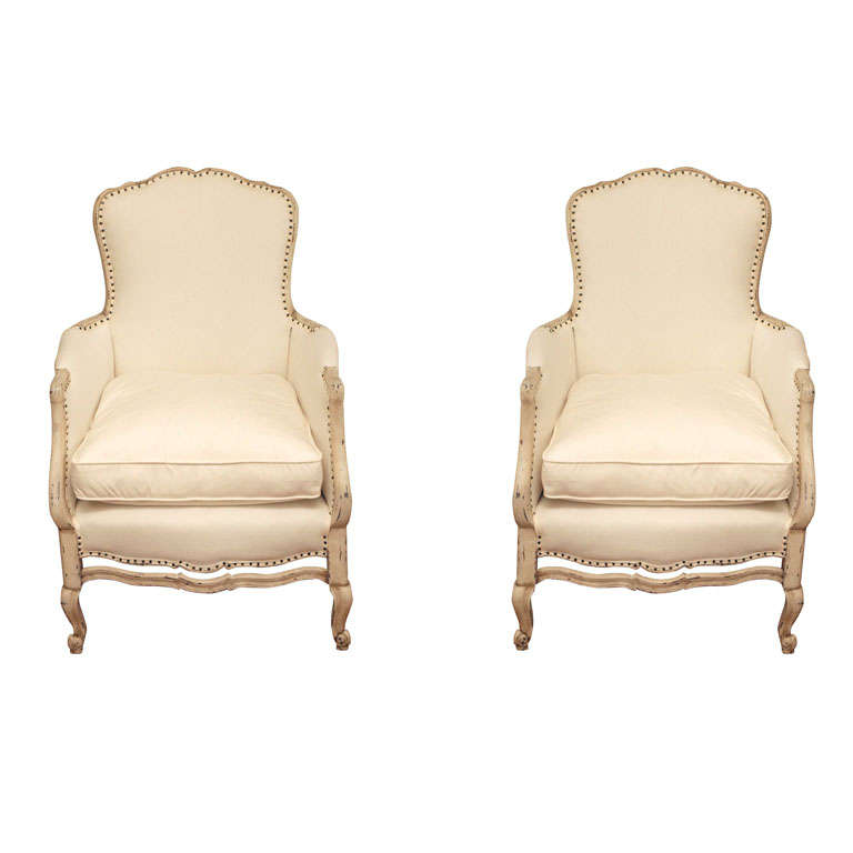 Pair of 19th Century Louis XV French Bergeres Chairs 1