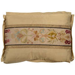 Antique Cross Stitch Needlepoint Pillow