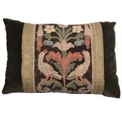 19th Century Bird Needle Point and Ribbon on Velvet Pillow