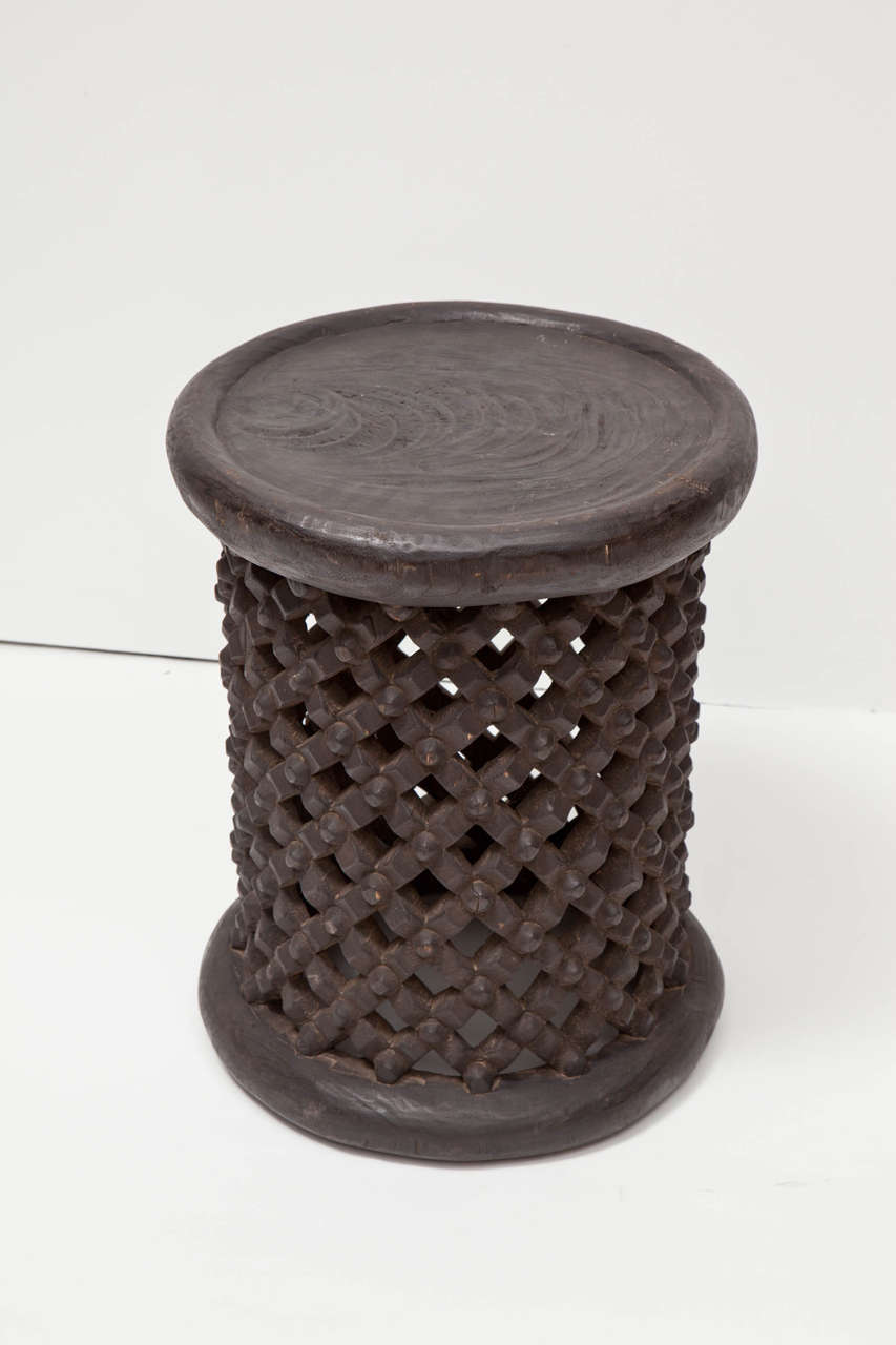 Tribal African Tall Drum Table For Sale