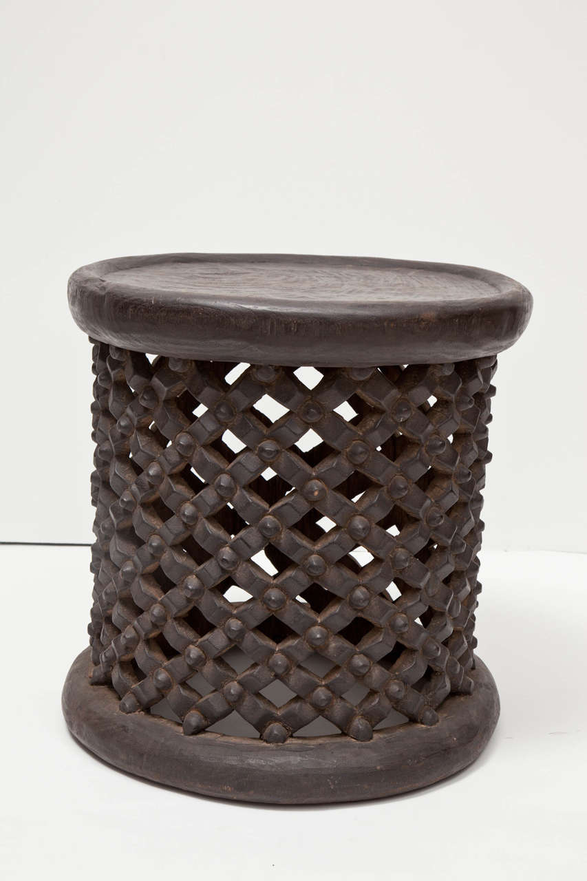 Wood African Tall Drum Table For Sale