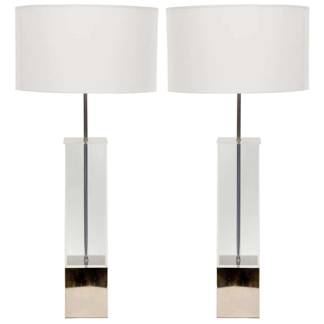 Pair of lucite table lamps with chrome base by laurel at 1stdibs pair of lucite table lamps with chrome base by laurel 1 geotapseo Images