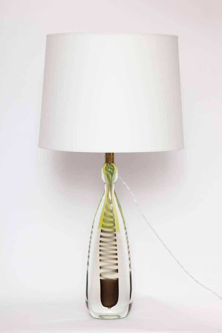 A rare 1950s Italian art glass table lamp, crafted of Murano glass by Fratelli Toso. Shade not included