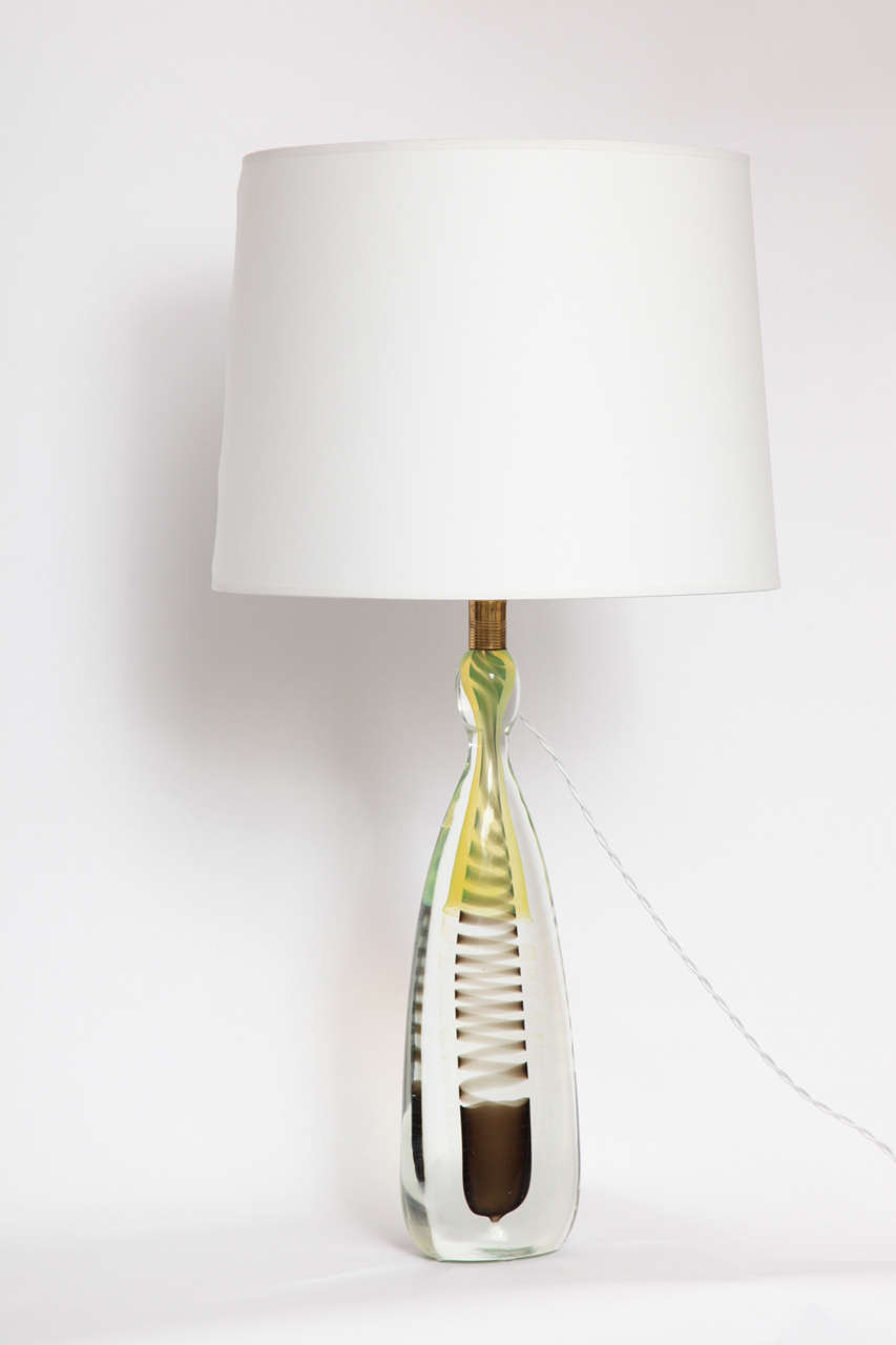 Mid-Century Modern 1950s Italian Art Glass Lamp by Fratelli Toso For Sale