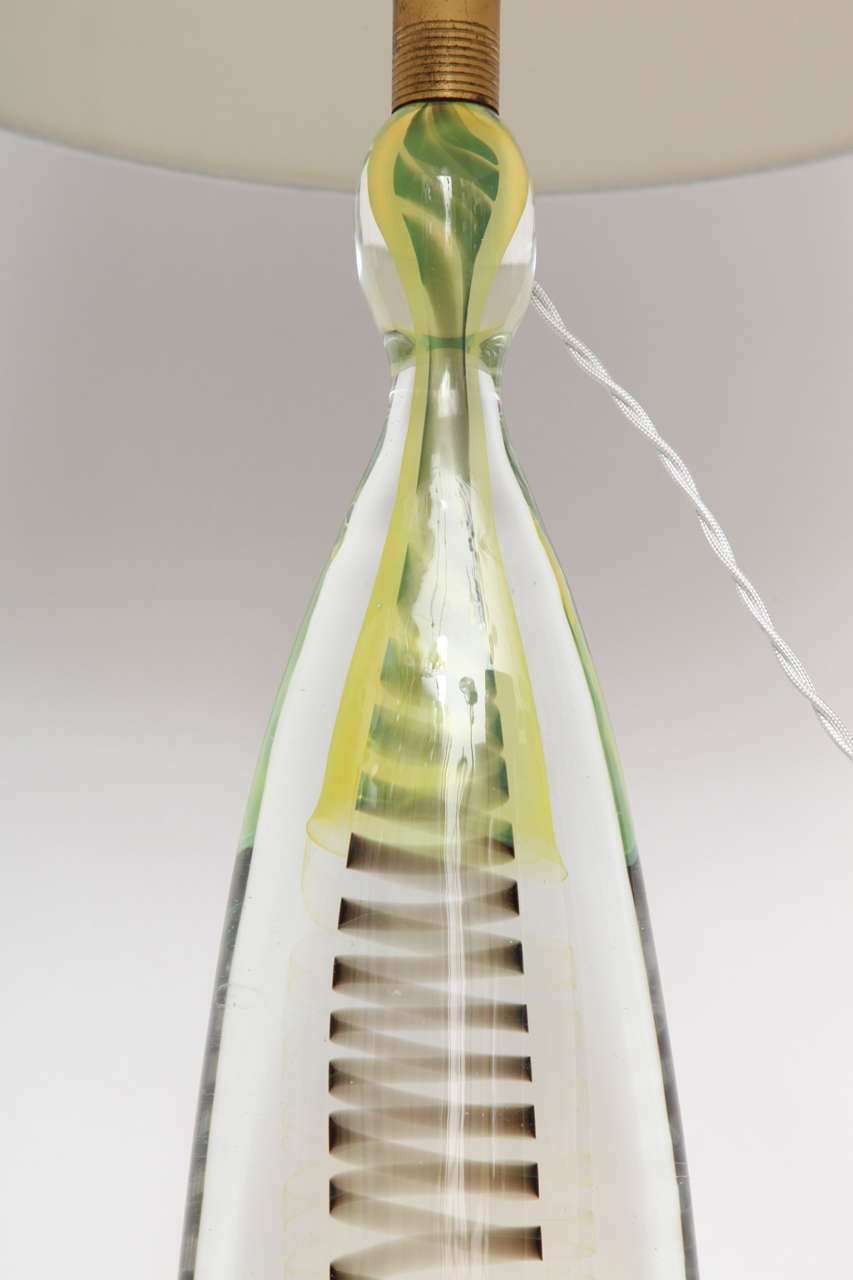1950s Italian Art Glass Lamp by Fratelli Toso For Sale 1