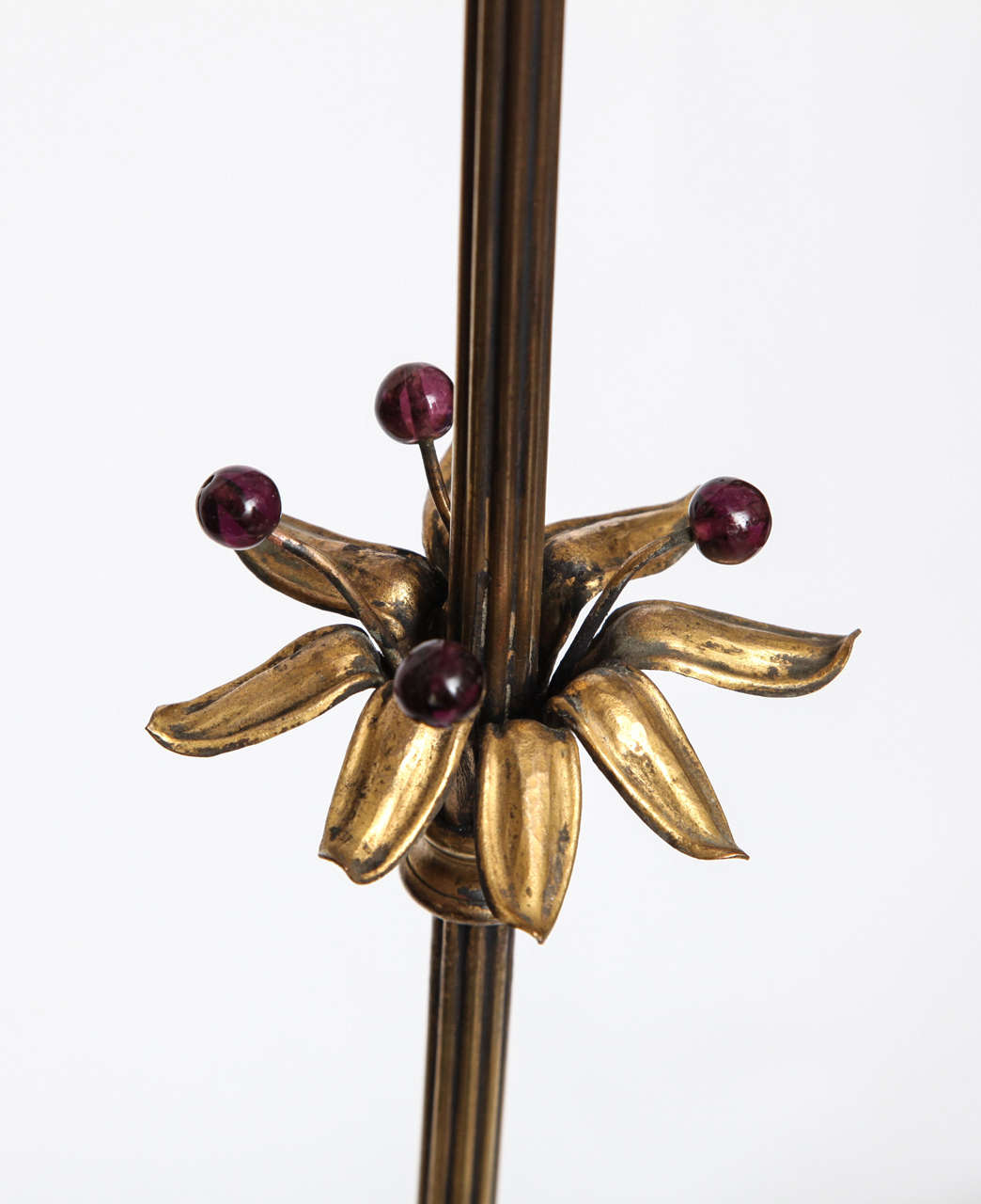 1920s Sculptural Art Deco Patinated Brass Floor Lamp In Good Condition For Sale In New York, NY