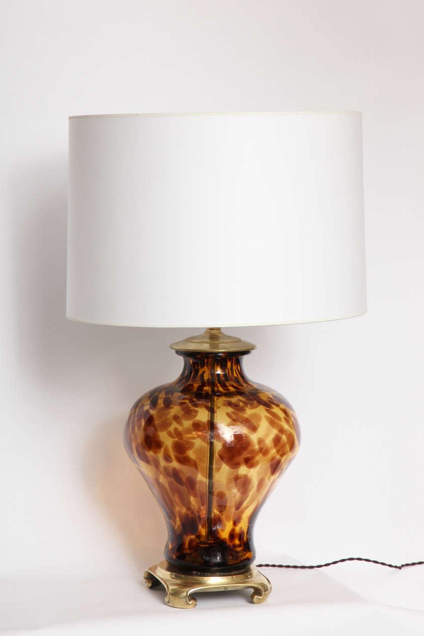 A Pair Of 1960 S Italian Art Glass Tortoise Shell Table