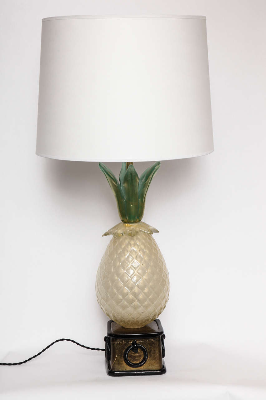A  Pair of 1940s Italian art glass table lamp by Martenuzzi. Shades not included