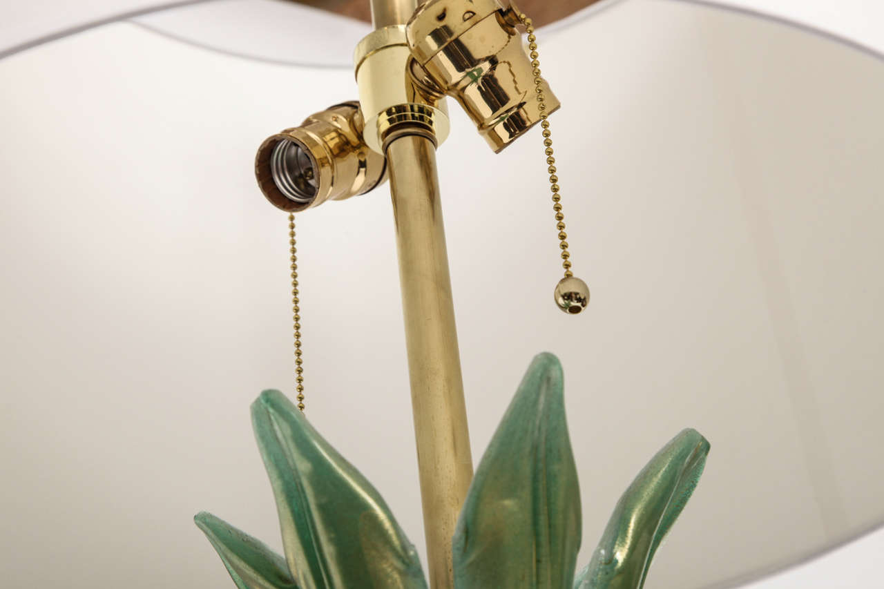 A Pair of 1940s Art Moderne Italian Art Glass Table Lamp by Martenuzzi For Sale 3