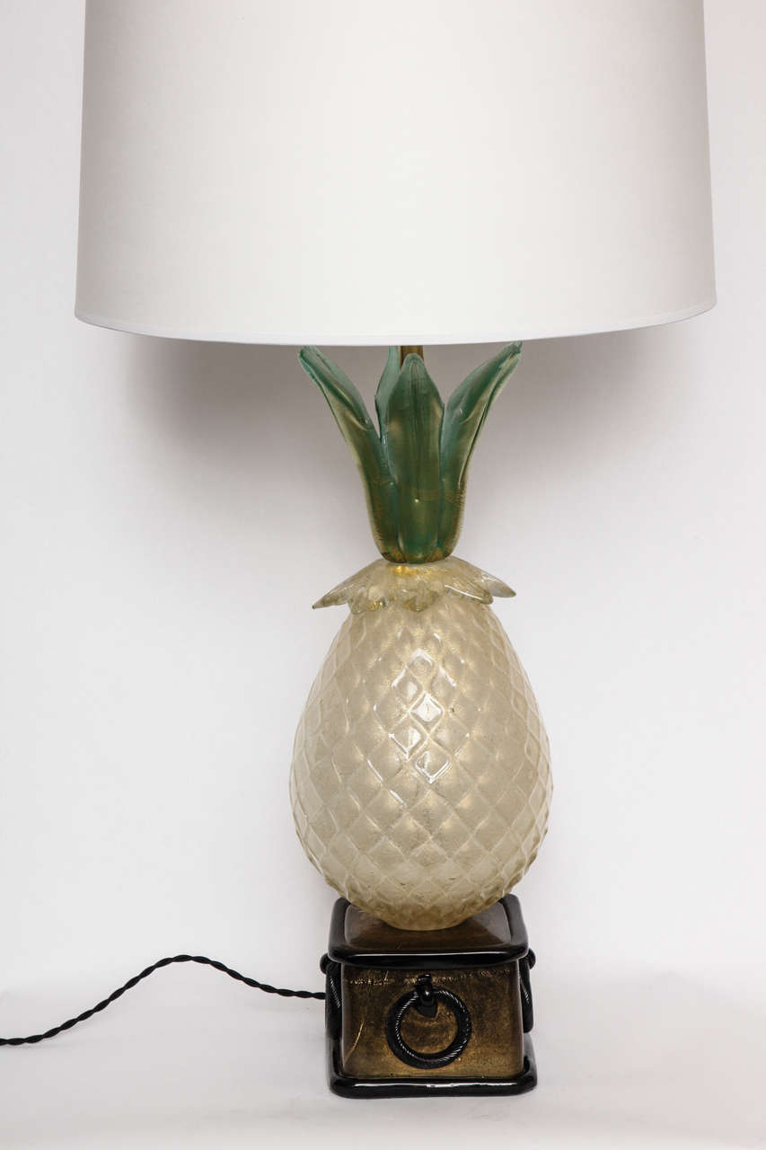 A Pair of 1940s Art Moderne Italian Art Glass Table Lamp by Martenuzzi For Sale 5