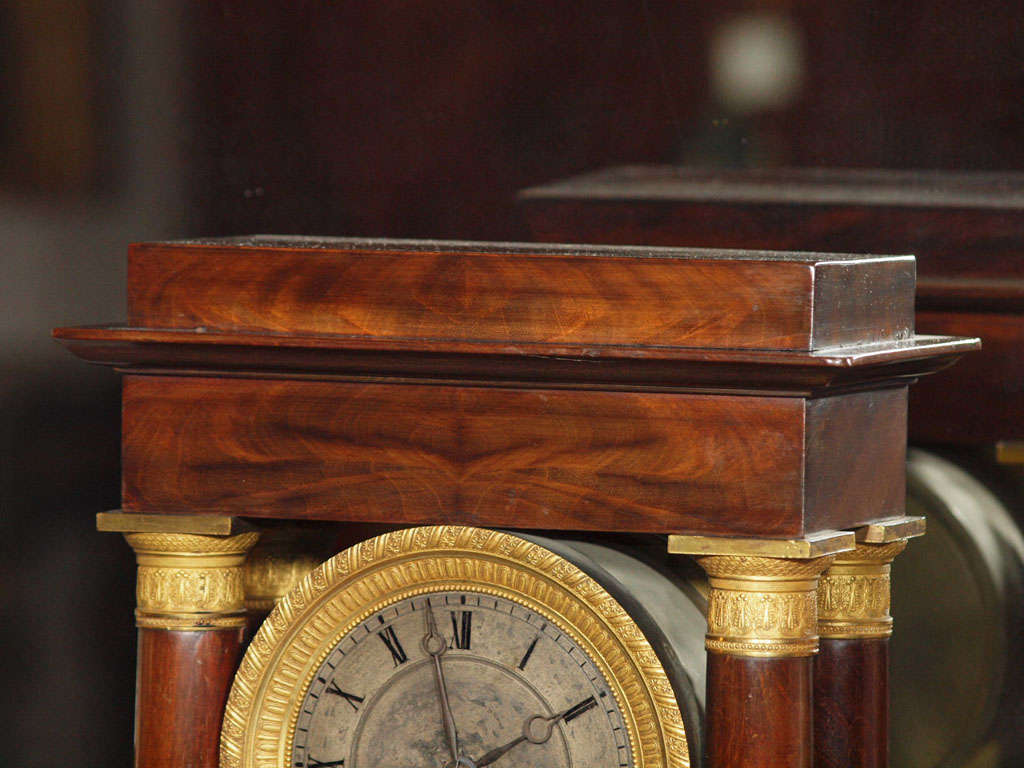 Antique french empire mahogany and bronze mantle clock for Empire antiques new orleans