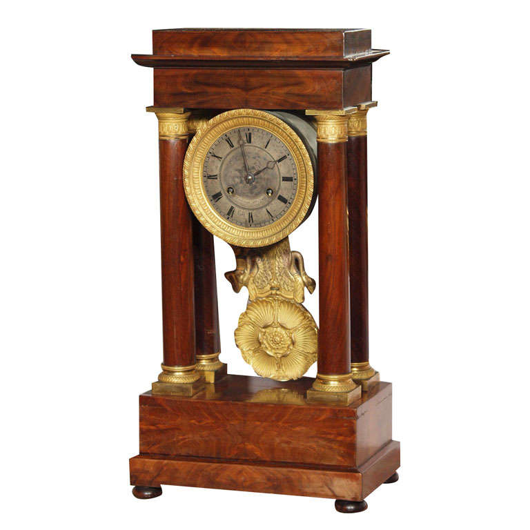 Antique french empire mahogany and bronze mantle clock at for Empire antiques new orleans