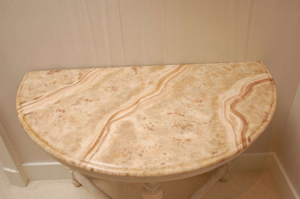 Pair of Faux Marble Top Demi Lune Tables In Good Condition In New York, NY
