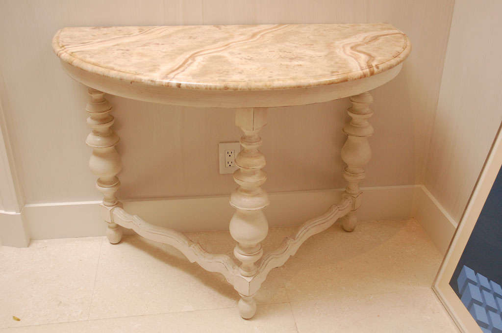 Pair of Faux Marble Top Demi Lune Tables 1
