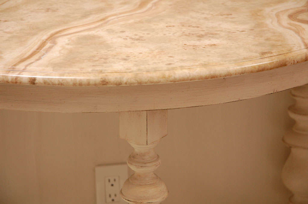 Pair of Faux Marble Top Demi Lune Tables 3