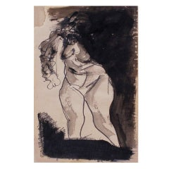 Jose Clemente Orozco Nude Ink Drawing