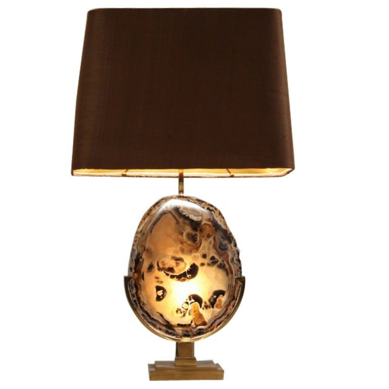 high end willy daro amethyst crystal lamp mounted on brass base at. Black Bedroom Furniture Sets. Home Design Ideas